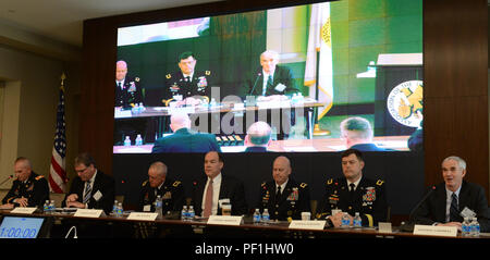 The 'Networked Mission Command' panel begins at the Association of the United States Army-sponsored Hot Topics forum on Air and Missile Defense, Feb. 11, 2016, at AUSA headquarters in Arlington, Va. Speakers were (from left): Col. Kelly C. Spillane, deputy commander for Support, U.S. Army Space and Missile Defense Command/U.S. Army Forces Strategic Command; Daniel J. Verwiel, sector vice president and general manager of Missile Defense and Protective Systems, Northrop Grumman Mission Systems; Brig. Gen. Timothy J. Sheriff, deputy commander, 263rd U.S. Army Air and Missile Defense Command; Rona - Stock Photo