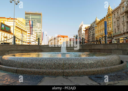 Mandusevac fountain in main square in Zagreb on a sunny day - Stock Photo