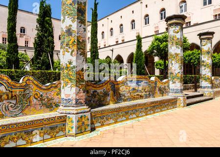 The cloister of Santa Chiara, Naples, Italy - Stock Photo