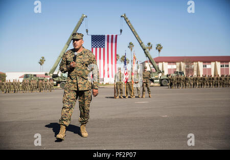 """Master Gunnery Sgt. Martin Duarte gives a speech to bring his retirement ceremony to a close, Feb. 11, 2016. Duarte steeped on the yellow footprints in May 1986 at Marine Corps Recruit Depot San Diego and retired after 30 years of service with the Corps. As a leader of Marines, Duarte said he strived to lead by example and promoted service before self. An example of what inspires Duarte comes an Albert Pine quote: """"What we do for ourselves dies with us. What we do for others and the world remains and is immortal.""""(U.S. Marine Corps photo by Cpl. April L. Price/Released) - Stock Photo"""