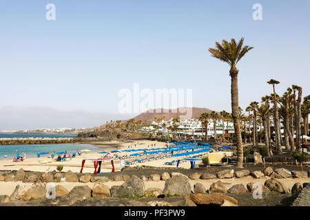 LANZAROTE, SPAIN - APRIL 18, 2018: beautiful view of Playa Flamingo beach, Lanzarote, Canary Islands - Stock Photo