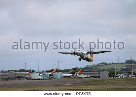 G-VZON, A Aurigny Air Services operated ATR 72 departing Bristol Airport for Jersey, Bristol Airport, Bristol, UK - Stock Photo