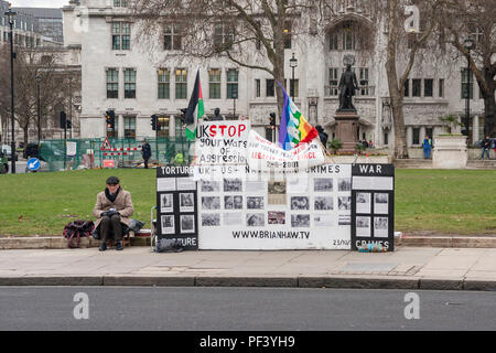 The remains of the Brian Haw peace protest in Parliament Square, London. - Stock Photo