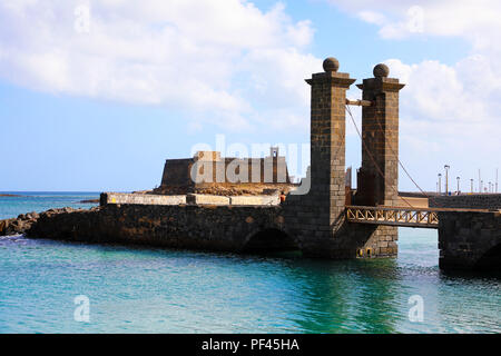 Castillo San Gabriel castle and Puente de las Bolas bridge, Arrecife, Lanzarote - Stock Photo