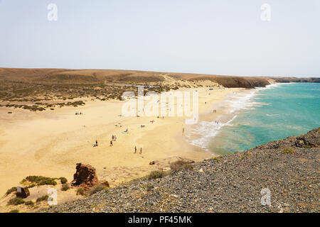Beautiful sight of Playas Papagayo beaches from point of view, Lanzarote, Canary Islands - Stock Photo