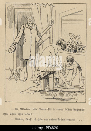 Vintage engraving of a Cartoon of man walking in on a woman bathing, 1880s, German - Stock Photo