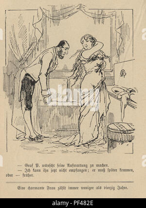 Vintage engraving of a Cartoon of a butler helping a woman wash her back, 1880s, German - Stock Photo