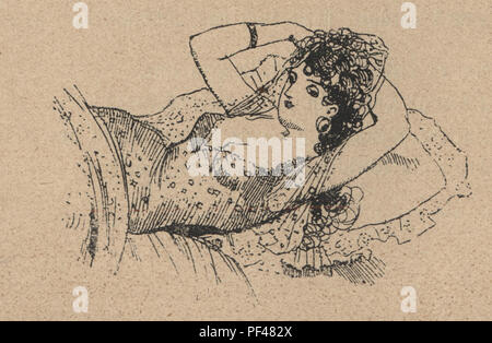 Vintage engraving of a young woman relaxing in bed, 1880s, German - Stock Photo