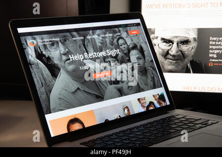 Milan, Italy - August 15, 2018: Fred Hollows Foundation NGO website homepage. Fred Hollows Foundation logo visible. - Stock Photo
