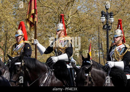 Mounted regiment of the Household Cavalry on the Mall, London England United Kingdom UK - Stock Photo