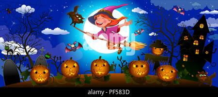 Night on Halloween. A little witch flies on a broom.  Joyful little witch flying on a broomstick in the night sky, against the backdrop of a castle, a - Stock Photo