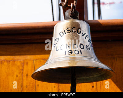 Ship's bell, RRS Discovery, Captain Scott's Antarctic ship, Discovery Point, Dundee, Scotland, UK - Stock Photo
