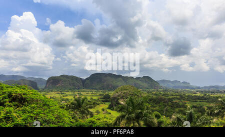 Viñales Valley panorama, view across lush green landscape, Pinar del Rio Province, Cuba - Stock Photo