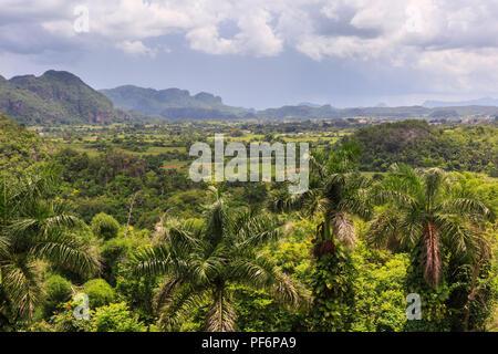 Viñales Valley panorama, view across lush green landscape, Pinar del Rio Province, Cuba - Stock Photo