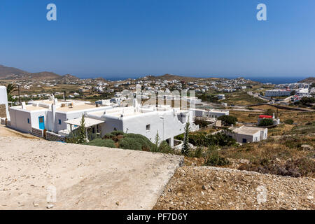 Panorama of Town of Ano Mera, island of Mykonos, Cyclades, Greece - Stock Photo