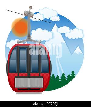 cabin ski cableway emblem vector illustration isolated on white background - Stock Photo