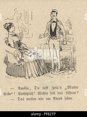 Vintage engraving of a Cartoon of a young couple at home, 1880s, German - Stock Photo