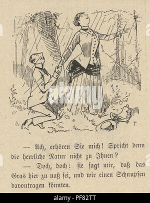 Vintage engraving of a Cartoon of a young couple with man on his knees, 1880s, German - Stock Photo