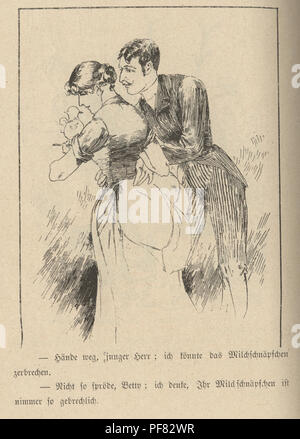 Vintage engraving of a Victorian cartoon of a young couple, 1880s, German - Stock Photo