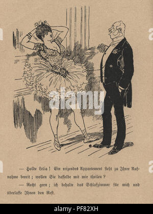 Vintage engraving of Victorian cartoon of old man and a ballerina, 1880s, German - Stock Photo