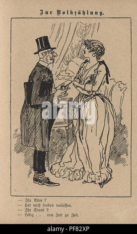 Vintage engraving of a Victorian Cartoon of a old gentleman and young woman, 1880s, German - Stock Photo
