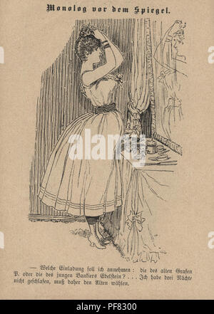Vintage engraving of a Victorian Cartoon of a young woman doing her hair and make-up, 1880s, German - Stock Photo