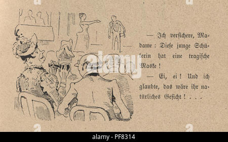 Vintage engraving of a Victorian cartoon of Couple watching a play at the theatre, 1880s, German - Stock Photo