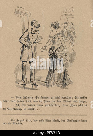 Vintage engraving of a Victorian Cartoon of man talking to a opera singer, 1880s, German - Stock Photo