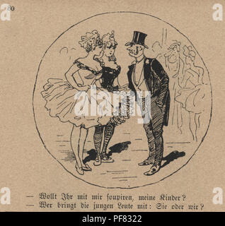 Vintage engraving of a Victorian cartoon of a mature man flirting with two showgirls at the theatre, 1880s, German - Stock Photo