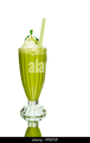 Iced green tea frappe in the glass isolated  - Stock Photo