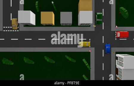 Street scene with the German road sign priority road and right of way. 3d rendering - Stock Photo