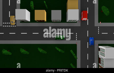 Street scene in the city with the traffic sign right out of view from above. 3d rendering - Stock Photo