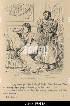 Vintage engraving of a Victorian Cartoon of a woman and her husband, 1880s, German - Stock Photo