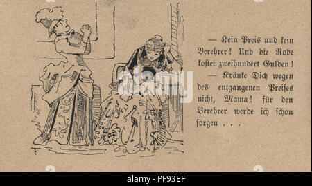 Vintage engraving of a Victorian Cartoon of two women, 1880s, German - Stock Photo