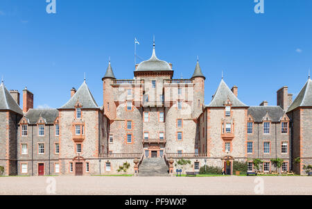 Thirlestane Castle in Lauder, Scotland.  The 16th century castle, a restored country home, is set in the Scottish Borders. - Stock Photo