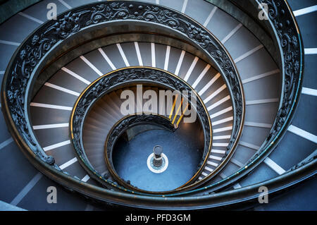 Vatican double helix spiral staircase in Rome Italy - Stock Photo