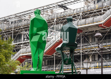 Paris sculptures Beaubourg - Sculptures of Renzo Piano and Richard Rogers, architects of the Centre Pompidou in Paris, France. - Stock Photo