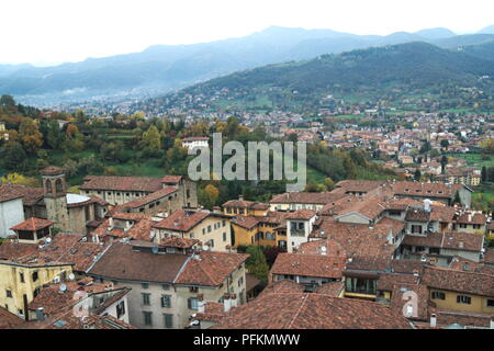 Italy, the medieval upper town of Bergamo in Lombardy. Roof tops and a view from above - Stock Photo