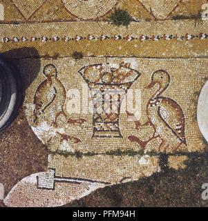 Lebanon, Part of a Byzantine mosaic amongst the ruins of Beit Meri. - Stock Photo