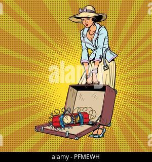 female terrorist. Bomb in baggage. Comic cartoon pop art retro vector illustration drawing - Stock Photo