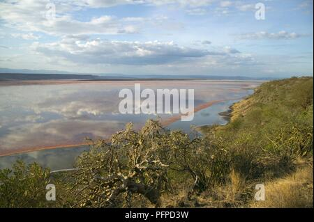 Kenya, Rift Valley, Lake Magadi, view of the lake's shoreline and clouds reflected in the water - Stock Photo