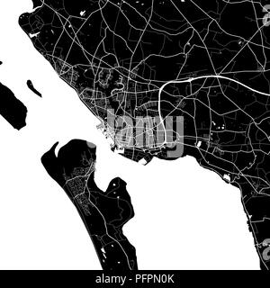 Area map of Esbjerg, Denmark. Dark background version for infographic and marketing projects. This map of Esbjerg, contains typical landmarks with str - Stock Photo