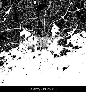 Area map of Helsinki, Finland. Dark background version for infographic and marketing projects. This map of Helsinki, contains typical landmarks with s - Stock Photo