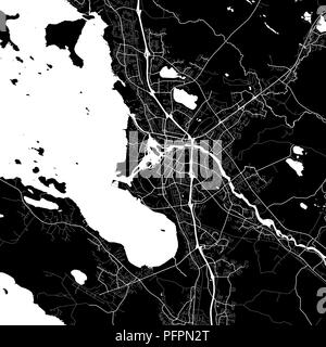 Area map of Oulu, Finland. Dark background version for infographic and marketing projects. This map of Oulu, contains typical landmarks with streets,  - Stock Photo