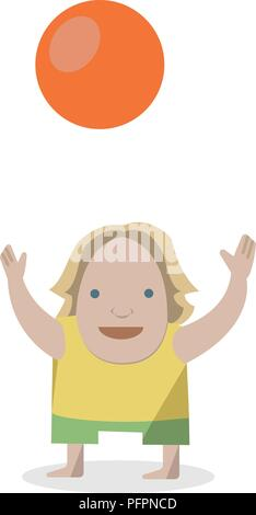 Kid with ball. Vector Illustrations on a white background. - Stock Photo