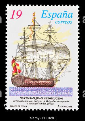 Spanish postage stamp (1995) : San Juan Nepomuceno (St John Nepomuk)Spanish ship launched 1765 in Guarnizo (Cantabria). Captured by the British Royal  - Stock Photo