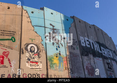 Graffiti on the Separation barrier  / Peace wall in  Bethlehem, Israel, Palestine, Middle East. October 2017 - Stock Photo