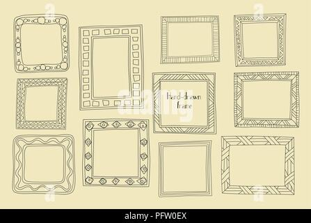 Hand drawn frames set. Cartoon greek style. Vector dividers, graphic High quality design elements set. Cute vintage borders. Antique ornamental and cu - Stock Photo
