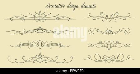 Vector hand drawn flourishes, dividers, graphic lovely design element set. Cute vintage borders. Wedding invitation cards, page decoration. Calligraph - Stock Photo