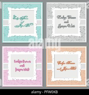 Vector elegant wedding invitation set. Beautiful stylish cards with a frame with curls. Banner, label, photo frame, invitation, postcard, greeting car - Stock Photo